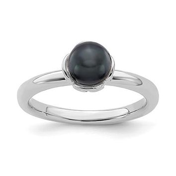 Sterling Silver Stack Expression Black FW Cultured Pearl Ring