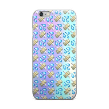 Money With Wings & Squirt Water Splash Emoji Collage Teen Cute Girly Girls Tie Dye Purple & Sky Blue iPhone 4 4s 5 5s 5C 6 6s 6 Plus 6s Plus 7 & 7 Plus Case