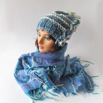 Slouchy Knitted hat  felted scarf  set Blue white squared cell scarf