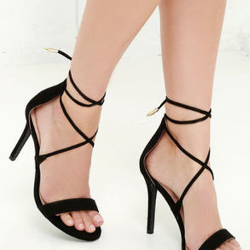 LULUS Romy Black Lace-Up Heels