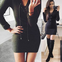 Winter Autumn Dress Womens Long Sleeve Sexy V Neck Party Black Knitted Dress Casual Bodycon Dress Vestidos Short Sweater Dresses