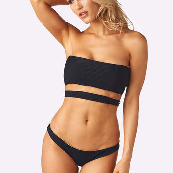 Gigi Top x Madison Bottom Bikini Separates (Black Rib)