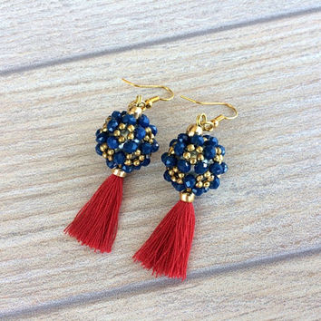 Beaded Ball Earrings, Anniversary Gift for Women, Tassel Jewelry, Statement Earrings, Boho Jewelry, Beadwork Prom Jewelry, Mother's Day gift