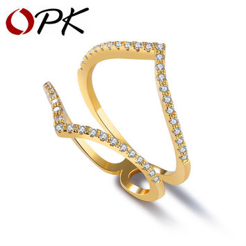 OPK Elegent Double V Shape Rings For Women Gold Color Micro Paved Zirconia Band Party Dating Bridesmaid Jewelry KJ059