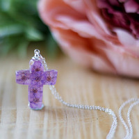 Real Flower Purple Blossom Christian Cross Necklace - Sterling Silver