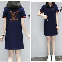 """Louis Vutitton"" Women Fashion  Letter Lapel Short Sleeve T-shirt Dress"