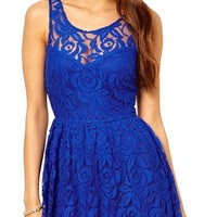 Women's Backless Mini Dress Skirt With Sheer Lace Top And Back Cross Strings