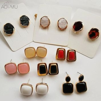 AOMU Vintage Geometric Trapezoid Small Ball Beans Metal Circle Acrylic Oval Resin Mini Square Stud Earrings For Women Girls