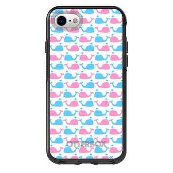 DistinctInk™ OtterBox Symmetry Series Case for Apple iPhone / Samsung Galaxy / Google Pixel - Blue Pink Cartoon Whales