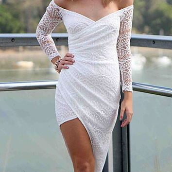 White Mid-Calf Long Sleeve Asymmetric Dress