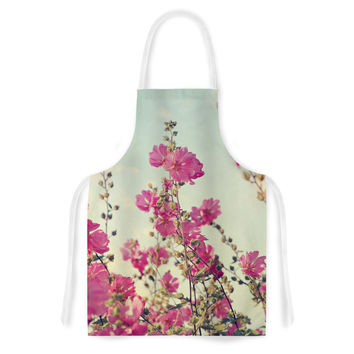 "Sylvia Cook ""Pink Lavatera"" Flowers Sky Artistic Apron"