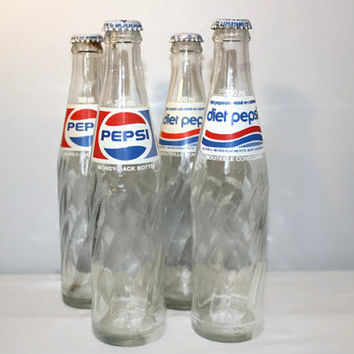 1970's Canadian Glass Pepsi Bottle with Cap, Diet Soda Collectible 300ml