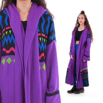 Purple Knit Hooded Wool Duster Sweater 80s 90s Vintage Long Warm Winter Outerwear Abstract Tribal Print Womens Size One Size Fits Most