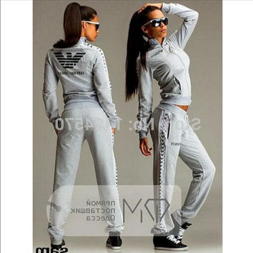 Black grey long sleeve lace up Female sport suit