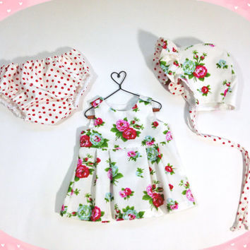 9 to 12 month baby set with top, panties and bonnet infant outfit pink floral baby gift baby outfit with diaper cover and baby bonnet