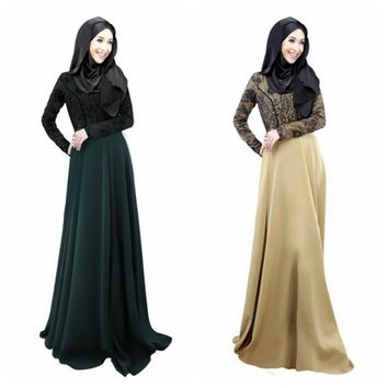 Women's Lace Long Sleeve Party Maxi Embroidery Dress Abaya Islamic Muslim Wear PY3