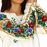Vintage Ethnic Floral  Women Blouse Top Traditional Folk Beads Embroidery