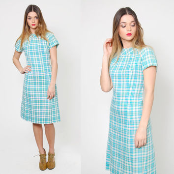 Vintage 50s Aqua PLAID Shift Dress Cap Sleeve SCOOTER Dress Retro Day Dress