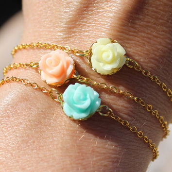 Trio - Set of 3  Friendship Bracelet - Dainty  Bracelet - Pastel Colors Jewelry -  Minimalist Jewelry- Bridesmaid gifts by Little Thing's