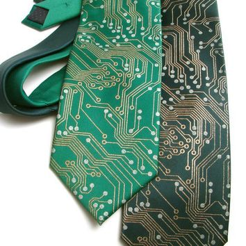Circuit Board Tie  Metallic Copper and Silver by ScatterbrainTies