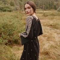 """Free People"" Boho Retro Ethnic Totem Embroidery Temperament Loose Long Sleeve Maxi Dress"