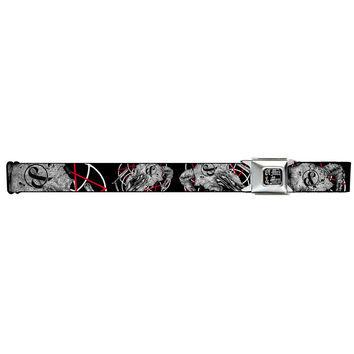 Of Mice & Men Men's  Ram Skull Seatbelt Buckle Belt Rockabilia