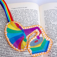 Phonograph Fabric Bookmark rainbow Retro colorful Bookmark