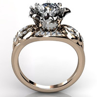 14k two tone rose and white gold diamond unusual unique floral engagement ring, bridal ring, wedding ring ER-1078-8
