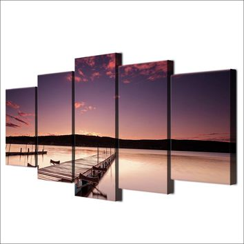 5 piece pcs panel wall canvas art Pier Painting Wood Dock Evening Print Picture