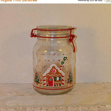 CIJ Sale Anchor Hocking Christmas Jar Vintage Gingerbread House Canister CHD Swing Top Bale Jar Christmas Collectible Gift Holiday Collectio