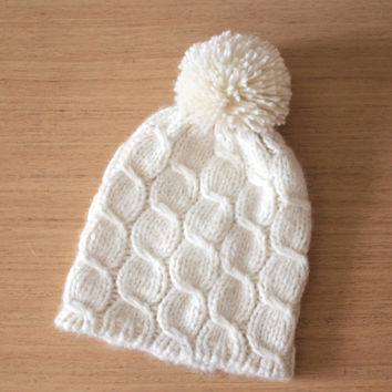White knit hat with pom pom,  Cable knit alpaca beanie hat, Bobble hat, Women hand knitted hat