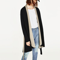 COAT WITH DRAPED COLLAR DETAILS