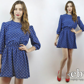 Vintage 80s Blue + White Polka Dot Mini Dress XS S Puff Sleeve Dress Blue Dress Polka Dot Dress Day Dress Work Dress Secretary Dress