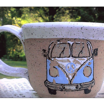 Hand Painted Hippie Van Pottery Mug
