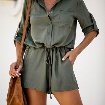 Evolve Pocketed Button Down Romper