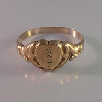 Art Nouveau Heart Signet Ring, Gold Filled, Sentimental Jewelry, Size 6.75