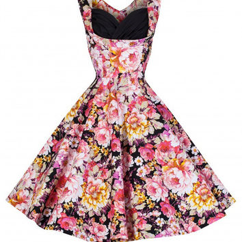 Floral Sleeveless V-Cut Back Tent Mini Dress