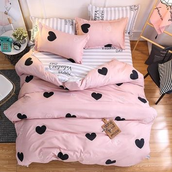 Cool Home Textile Pink Girl Heart Bedding Set  3/4pcs Quilt Cover Queen Full King Size Children Cartoon Duvet Cover  BedclothesAT_93_12