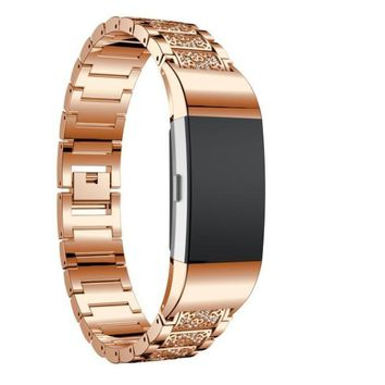 Smart Watches MM&I Luxury Crystal Stainless Steel Metal Wristband Strap Band For Fitbit Charge (Rose Gold)