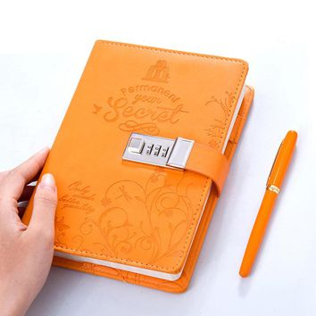 B6 Faux Leather Password Lock Notebook Personal Diary Memos Agenda Planner Organizer Composition Travel Journal Office Books