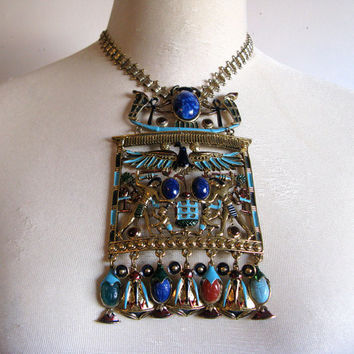 Vintage Egyptian Revival Necklace 1970s Gold Enamel Lapis Lazuli Statement Jewelry