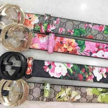 GUCCI Classic Fashionable Woman Men Flower Print Smooth Buckle Belt Leather Belt I/A