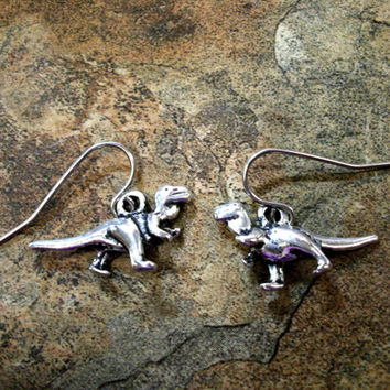Dinosaur Earrings, Dinosaur Jewelry, Dinosaur Jewelry Set, T Rex Jewelry, T-Rex Earrings