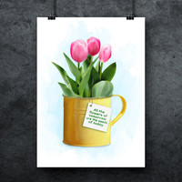 Tulips digital poster, Office plant print, Houseplant print, Watercolor, Flower prints, Flower printable, Plant quote, INSTANT DOWNLOAD