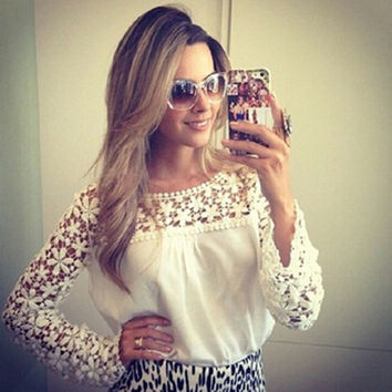 White Crochet Lace Sleeve Blouse