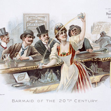 20th Century Bartender Bar Maid Fine Art Print