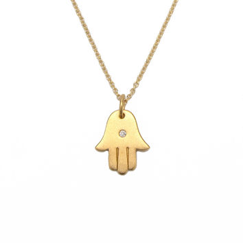 Gold & Diamond Hamsa Hand Charm Necklace