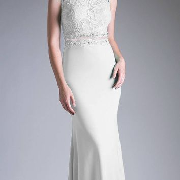 Long Lace Bodice Stretch Knit Sheath Dress Cream Sleeveless