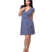 Navy & White Dot Faux Wrap Jersey Flare Dress