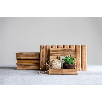 Book Shaped Wooden Box -- 8-in